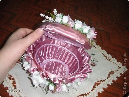 """Мастер-класс, Поделка, изделие Шитьё: Мои шкатулки из пластиковой  посуды  """"Розовая нежность"""" 8 марта, Валентинов день, День  матери, День рождения. Фото 24"""