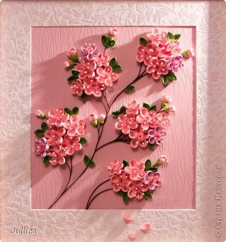Картина, панно,  Квиллинг, : Сакура Полосы бумажные . Фото 3
