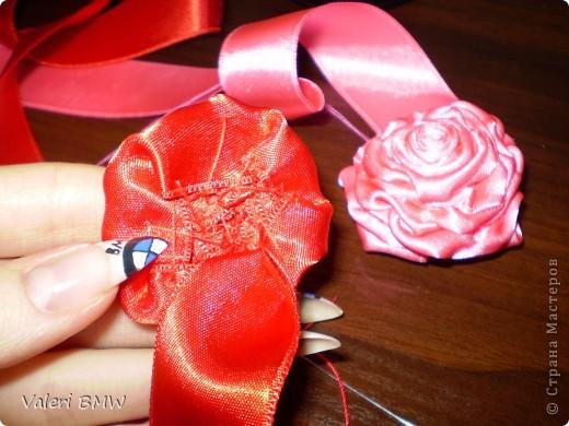 Мастер-класс: МК розы из атласной ленты Ленты.  Фото 8.