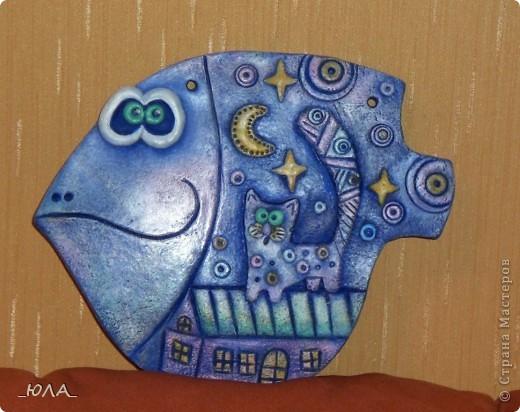 Картина, панно Лепка, Роспись: Две рыбки Тесто соленое. Фото 2