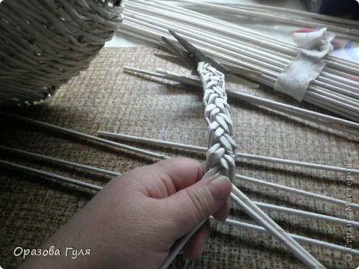 Поделка, изделие Декупаж, Плетение: Корзина на стену из газетных трубочек. Бумага газетная, Салфетки, Ткань. Фото 7