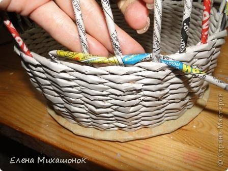 Мастер-класс Плетение: Оплетаем верх корзинки! Новая идея! Бумага газетная. Фото 1