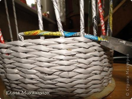 Мастер-класс Плетение: Оплетаем верх корзинки! Новая идея! Бумага газетная. Фото 2