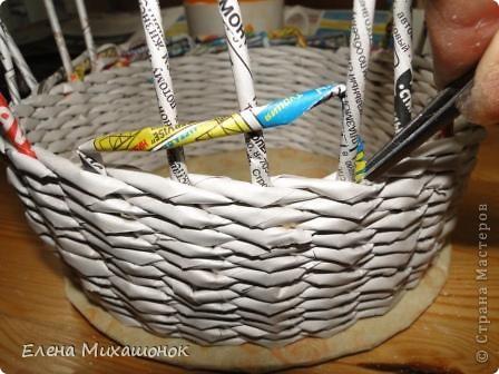 Мастер-класс Плетение: Оплетаем верх корзинки! Новая идея! Бумага газетная. Фото 3