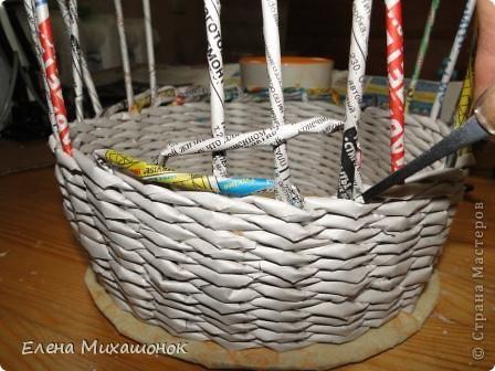 Мастер-класс Плетение: Оплетаем верх корзинки! Новая идея! Бумага газетная. Фото 4