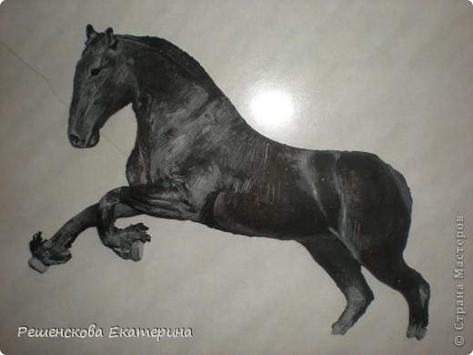 Картина, панно, Мастер-класс, Рисование и живопись, : Чёрный конь. Соленое тесто. Гуашь, Клей, Материал природный . Фото 3