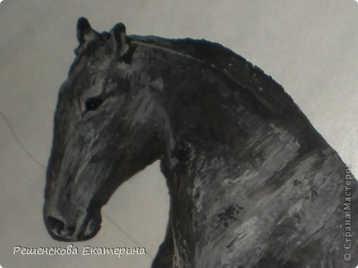 Картина, панно, Мастер-класс, Рисование и живопись, : Чёрный конь. Соленое тесто. Гуашь, Клей, Материал природный . Фото 4