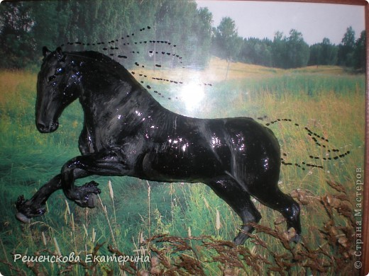 Картина, панно, Мастер-класс, Рисование и живопись, : Чёрный конь. Соленое тесто. Гуашь, Клей, Материал природный . Фото 12