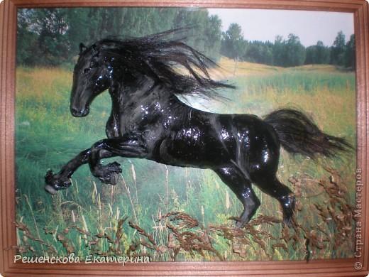 Картина, панно, Мастер-класс,  Рисование и живопись, : Чёрный конь. Соленое тесто. Гуашь, Клей, Материал природный . Фото 1