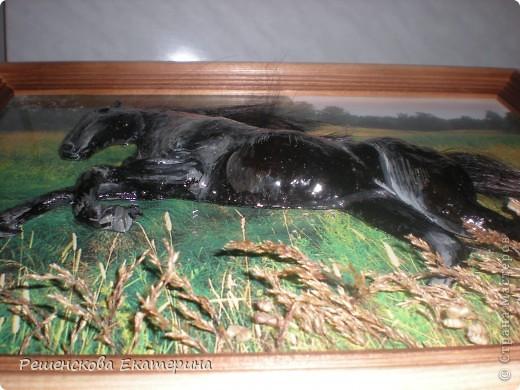 Картина, панно, Мастер-класс, Рисование и живопись, : Чёрный конь. Соленое тесто. Гуашь, Клей, Материал природный . Фото 16