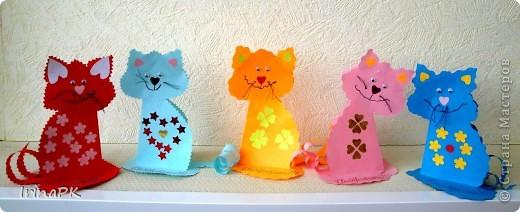 Поделка, изделие Бумагопластика: Котики из сердечек. Бумага Валентинов день. Фото 9