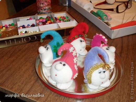 Игрушка Шитьё: Новогодние снежки Ткань Новый год. Фото 14
