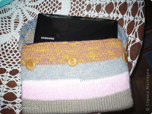Декор предметов Вязание спицами: чехол для нетбука Нитки.  Фото 2.