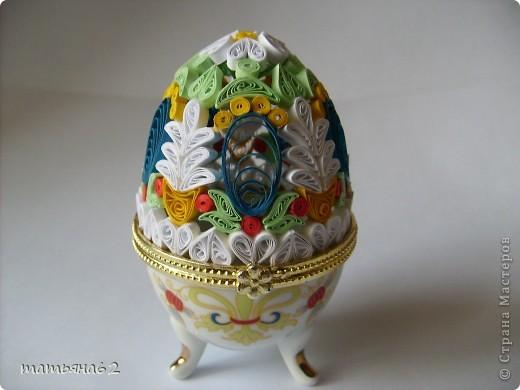 Поделка, изделие Квиллинг: Яйцо-шкатулка. Бумага Пасха. Фото 2