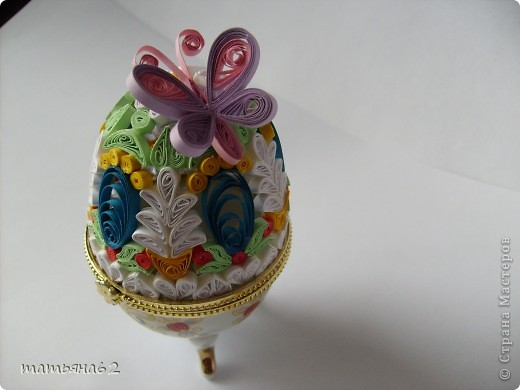 Поделка, изделие Квиллинг: Яйцо-шкатулка. Бумага Пасха. Фото 3