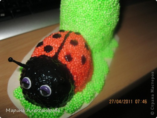 Божья коровка-карандашница №2 из шарикового пластилина!. Фото 10