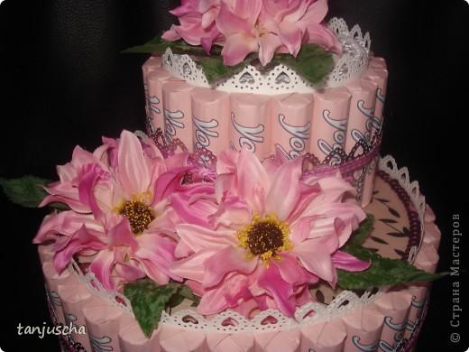 Свит-дизайн: Тортик из конфет  Бумага, Ленты, Пайетки День матери, День рождения. Фото 2