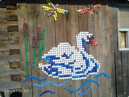 Мастер-класс,  Мозаика, : Лебедь из пробок (повторюшка) Материал бросовый, Проволока Отдых, . Фото 1