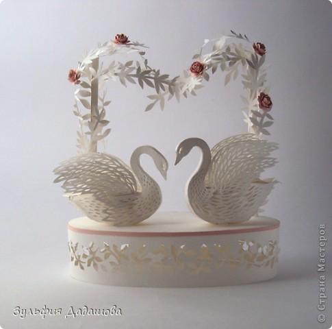 Поделка, изделие Бумагопластика, Вырезание: Лебеди Бумага День семьи, Свадьба. Фото 1