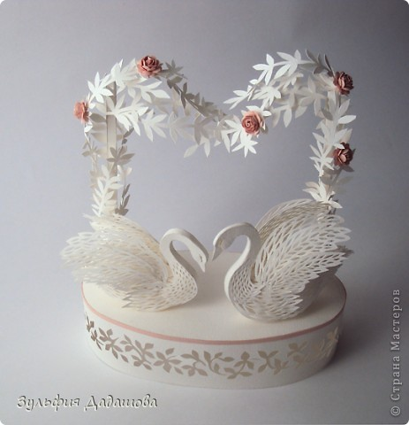 Поделка, изделие Бумагопластика, Вырезание: Лебеди Бумага День семьи, Свадьба. Фото 2
