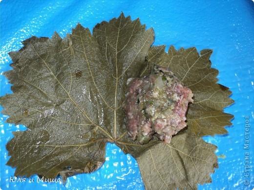 Долма имеет множество вариантов рецептов. Некоторые даже называют ее голубцами в виноградных листьях. Это не совсем так. Все зависит от начинки.  Предлагаем свой вариант блюда. Ингридиенты: мясной фарш - 500 г молодые виноградные листья - 30 штук лук - 2 больших головки кинзу - 1 пучек томат (или кетчуп) подсолнечное масло лавровый лист соль, перец - по вкусу. Фото 5