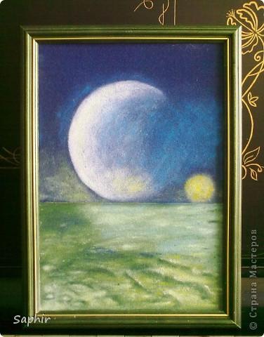Картина, панно Бумагопластика, Квиллинг, Рисование и живопись: В лунном свете Бумага, Бумага бархатная, Клей. Фото 2