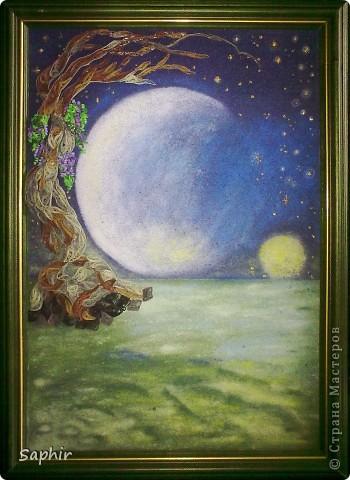 Картина, панно Бумагопластика, Квиллинг, Рисование и живопись: В лунном свете Бумага, Бумага бархатная, Клей. Фото 3