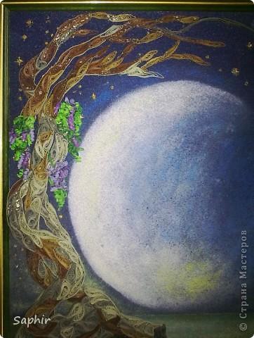 Картина, панно Бумагопластика, Квиллинг, Рисование и живопись: В лунном свете Бумага, Бумага бархатная, Клей. Фото 4