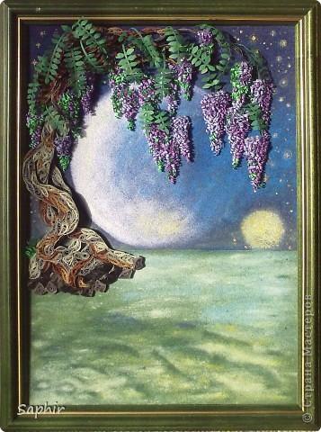 Картина, панно Бумагопластика, Квиллинг, Рисование и живопись: В лунном свете Бумага, Бумага бархатная, Клей. Фото 5