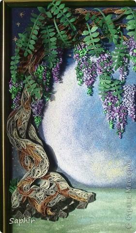 Картина, панно Бумагопластика, Квиллинг, Рисование и живопись: В лунном свете Бумага, Бумага бархатная, Клей. Фото 7