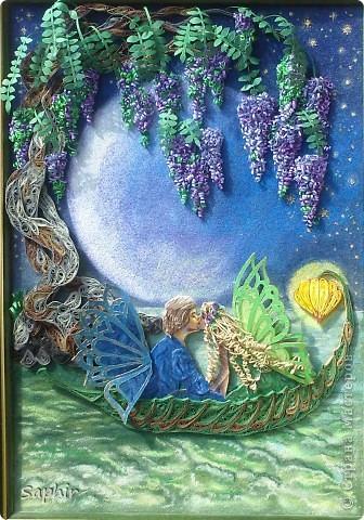 Картина, панно Бумагопластика, Квиллинг, Рисование и живопись: В лунном свете Бумага, Бумага бархатная, Клей. Фото 9