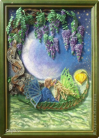 Картина, панно Бумагопластика, Квиллинг, Рисование и живопись: В лунном свете Бумага, Бумага бархатная, Клей. Фото 1