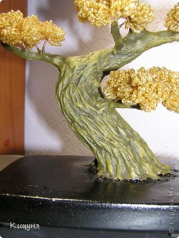 Интерьер, Поделка, изделие Бисероплетение: Золотой бонсай и Ледяное дерево Бисер, Гипс, Краска, Проволока. Фото 4