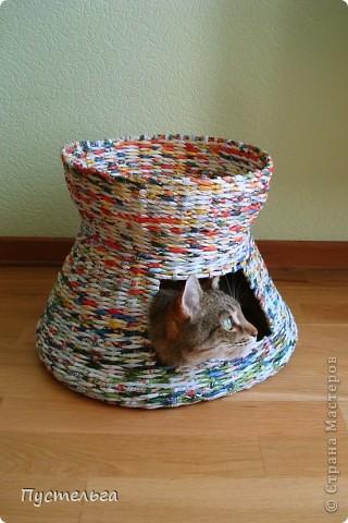 Мастер-класс, Поделка, изделие Плетение: Котькин дом Бумага газетная. Фото 12
