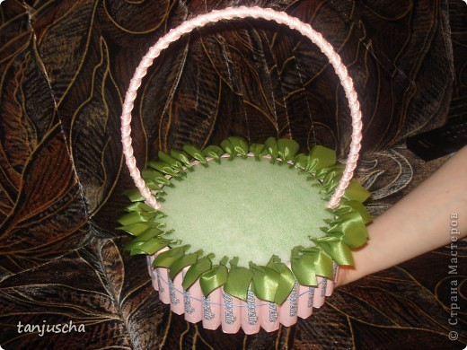 Master Class, Sweet Design Bumagoplastika: Sweet basket with delicious candy Corrugated paper, beads, belts on March 8, Birthday, Family Day, Teacher's Day. Photo 13