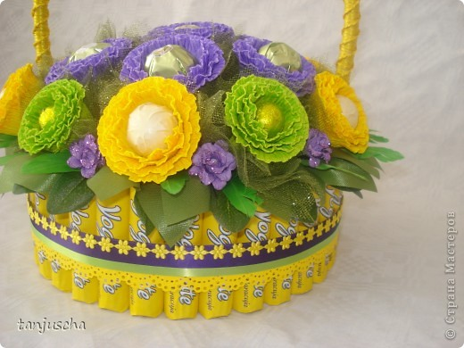 Master Class, Sweet Design Bumagoplastika: Sweet basket with delicious candy Corrugated paper, beads, belts on March 8, Birthday, Family Day, Teacher's Day. Photo 24