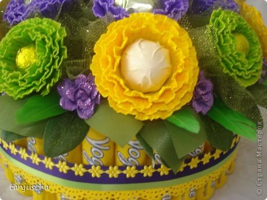Мастер-класс, Свит-дизайн Бумагопластика: Сладкая корзинка с вкусными конфетками Бумага гофрированная, Бусинки, Ленты 8 марта, День рождения, День семьи, День учителя. Фото 25