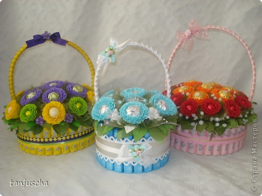 Master Class, Sweet Design Bumagoplastika: Sweet basket with delicious candy Corrugated paper, beads, belts on March 8, Birthday, Family Day, Teacher's Day. Photo 30