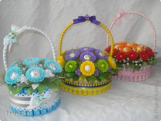 Master Class, Sweet Design Bumagoplastika: Sweet basket with delicious candy Corrugated paper, beads, belts on March 8, Birthday, Family Day, Teacher's Day. Photo 1
