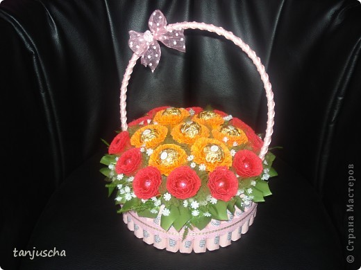 Master Class, Sweet Design Bumagoplastika: Sweet basket with delicious candy Corrugated paper, beads, belts on March 8, Birthday, Family Day, Teacher's Day. Photo 20
