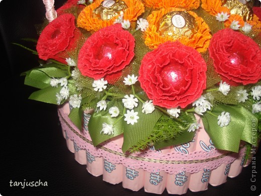 Master Class, Sweet Design Bumagoplastika: Sweet basket with delicious candy Corrugated paper, beads, belts on March 8, Birthday, Family Day, Teacher's Day. Photo 22