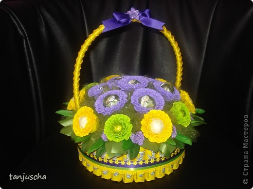 Master Class, Sweet Design Bumagoplastika: Sweet basket with delicious candy Corrugated paper, beads, belts on March 8, Birthday, Family Day, Teacher's Day. Photo 23