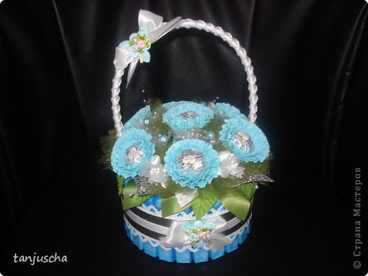 Master Class, Sweet Design Bumagoplastika: Sweet basket with delicious candy Corrugated paper, beads, belts on March 8, Birthday, Family Day, Teacher's Day. Photo 26