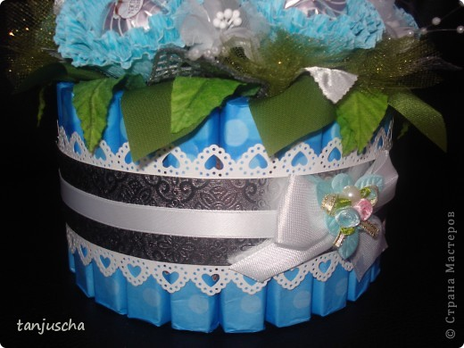 Master Class, Sweet Design Bumagoplastika: Sweet basket with delicious candy Corrugated paper, beads, belts on March 8, Birthday, Family Day, Teacher's Day. Photo 28