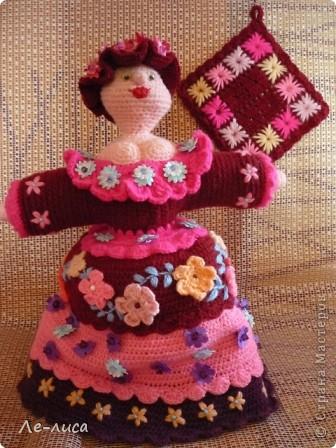 Поделка, изделие Вязание крючком: Куклы-грелки для чайника Пряжа Дебют. Фото 1
