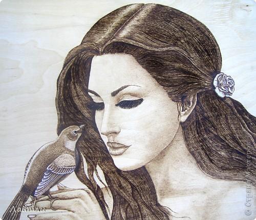 Картина, панно Выжигание по дереву: Спой мне птица... Фанера. Фото 1