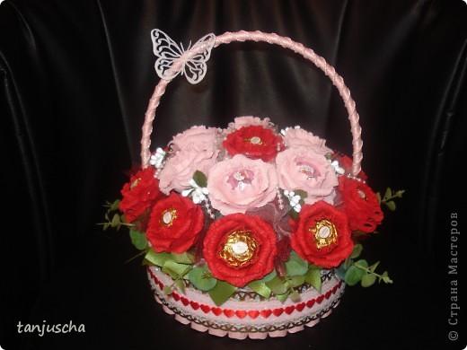 Свит-дизайн Бумагопластика: Корзинка с розами Бумага гофрированная День рождения. Фото 1