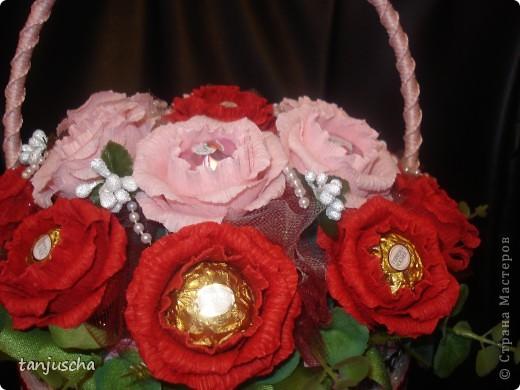 Свит-дизайн Бумагопластика: Корзинка с розами Бумага гофрированная День рождения. Фото 2