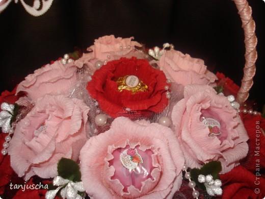 Свит-дизайн Бумагопластика: Корзинка с розами Бумага гофрированная День рождения. Фото 3