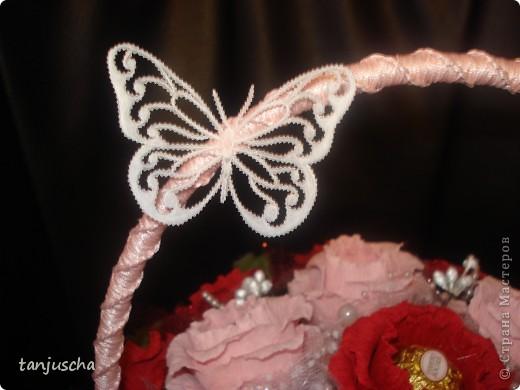 Свит-дизайн Бумагопластика: Корзинка с розами Бумага гофрированная День рождения. Фото 4